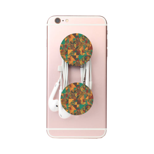Abstract Safari Print - White Multi-function Cell Phone Stand