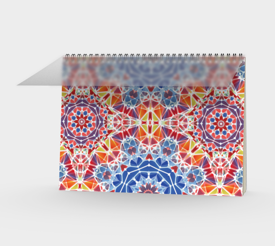 Blue and Orange Kaleidoscope Spiral Notebook - Landscape