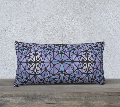"Purple and Blue Kaleidoscope 24"" x 12"" Decorative Pillow Case"