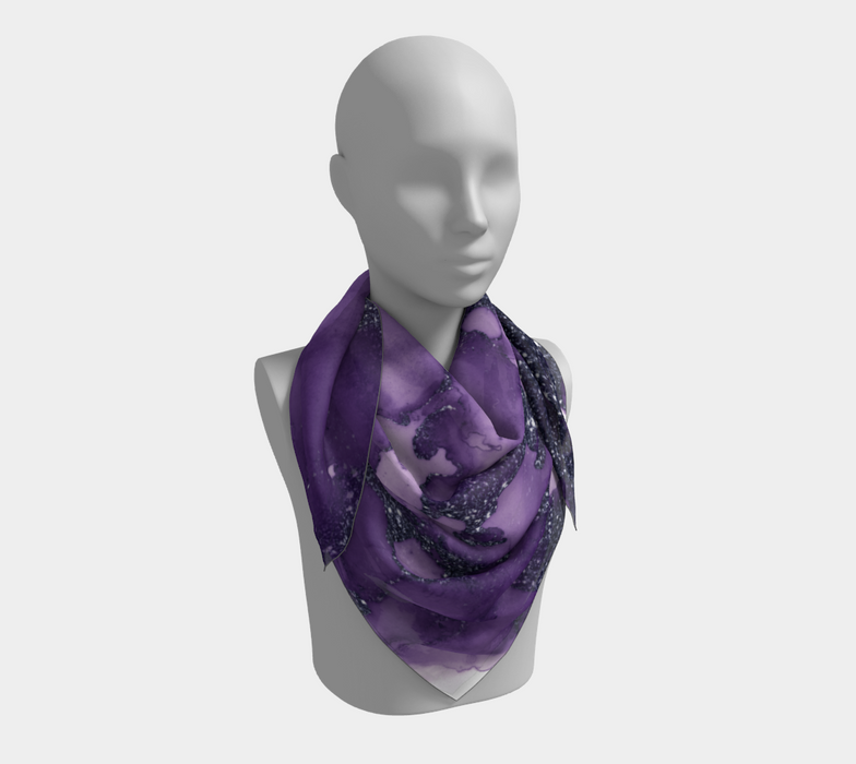 Watercolor Swirls I - Purple Sparkles, Square Scarf