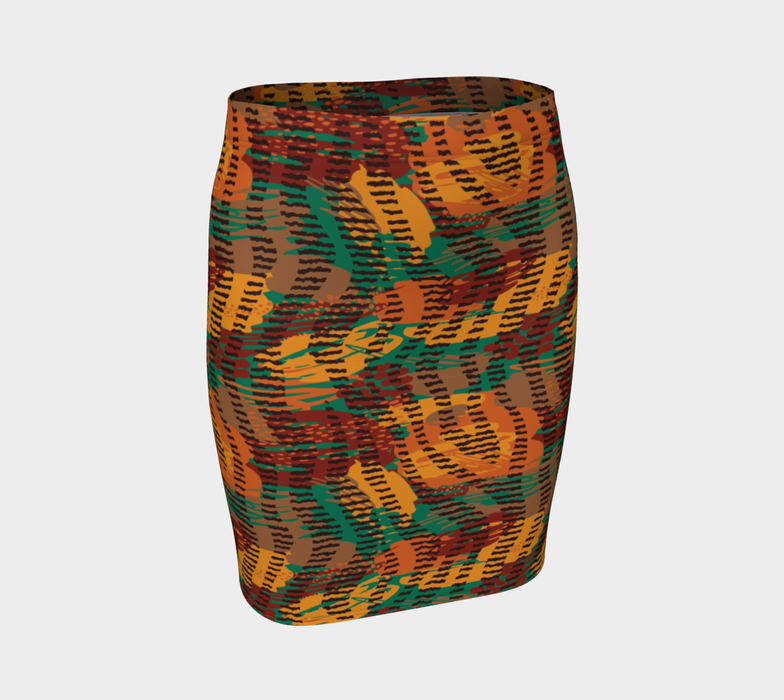 Abstract Animal Stripes Fitted Skirt