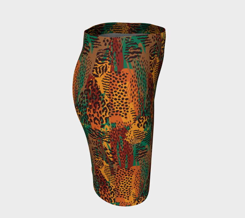 Safari Animal Print Mashup Fitted Skirt