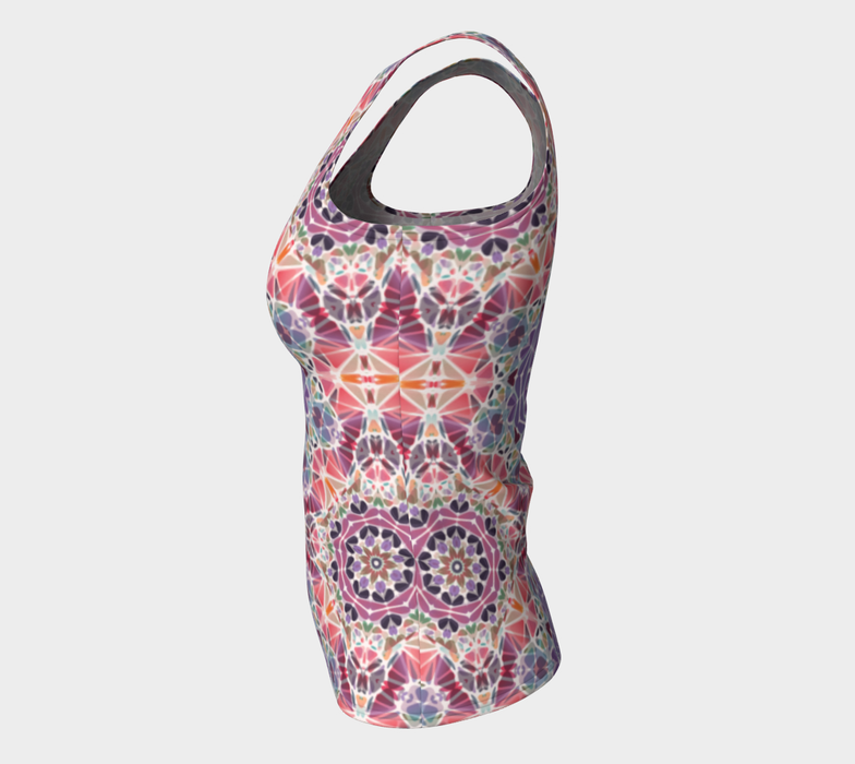 Purple and Pink Kaleidoscope Fitted Tank Top