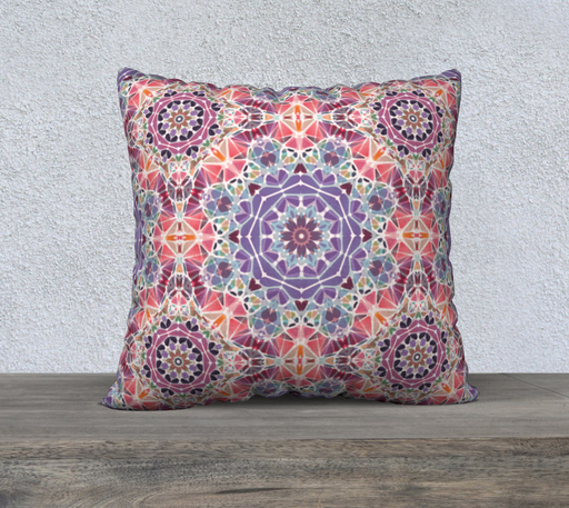 "Purple and Pink Kaleidoscope 22"" X 22"" Decorative Pillow Case"