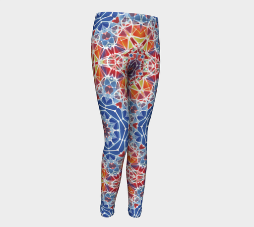 Blue and Orange Kaleidoscope Youth Leggings