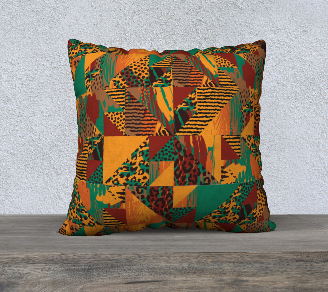 "Abstract Safari Print 22"" x 22"" Decorative Pillow Case"