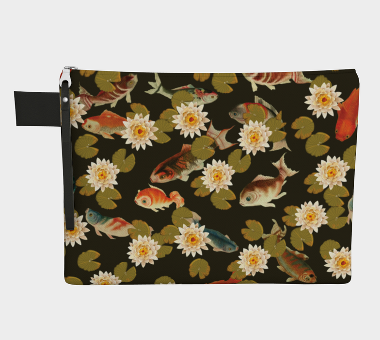Koi & Lily Pads in Dark Water - Zipper Carry-all