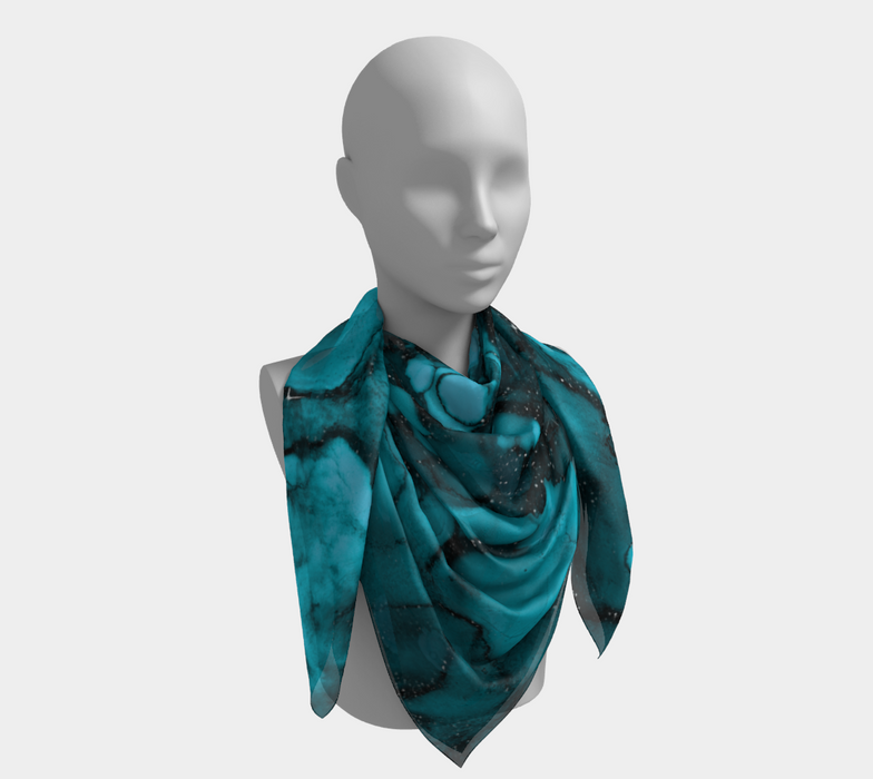 Watercolor Swirls O - Turquoise Splotches, Square Scarf