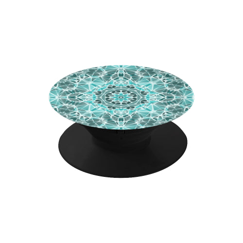 Turquoise & Gray Kaleidescope - Black Multi-function Cell Phone Stand