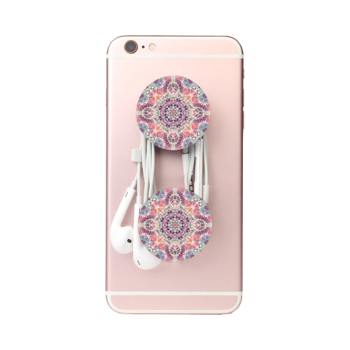 Purple & Pink Kaleidescope - White Multi-function Cell Phone Stand