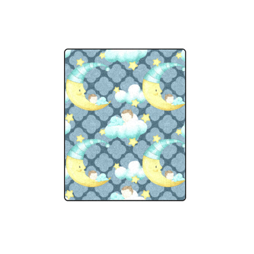 "Sleeping With The Man In The Moon - Lattice Background Fleece Blanket 40""x 50"""