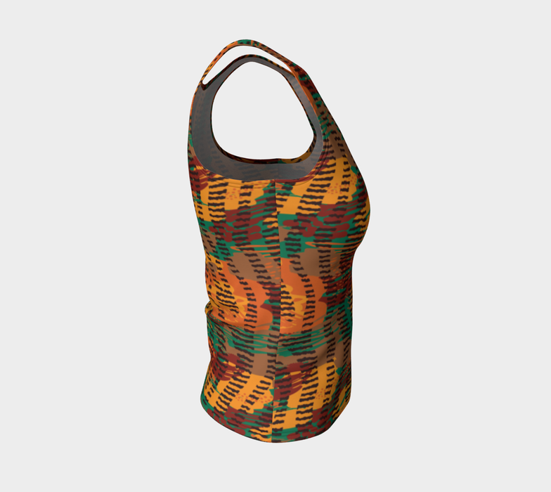 Abstract Animal Stripes Fitted Tank Top