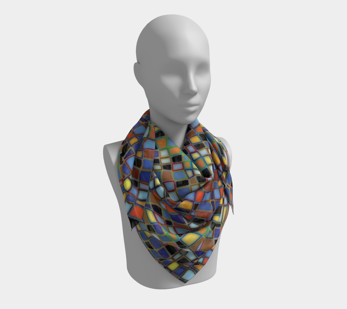Wavy Squares Mosaic Pattern Square Scarf