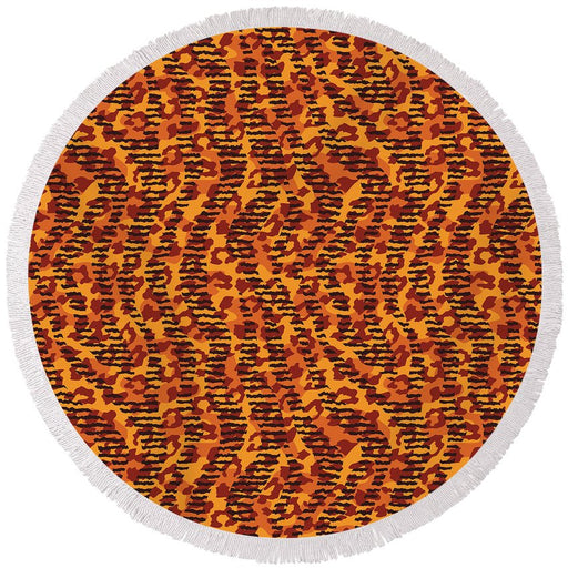 Abstract Animal Stripes And Spots Print - Round Beach Towel