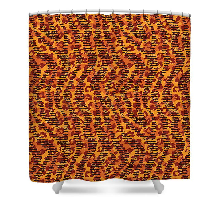 Abstract Animal Stripes And Spots Print - Shower Curtain