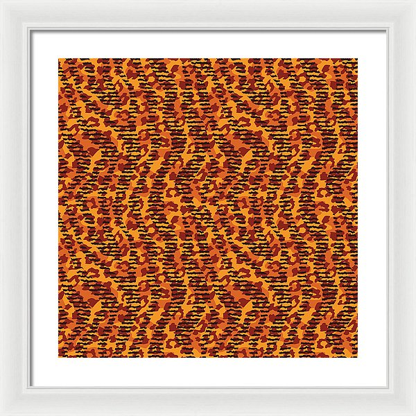 Abstract Animal Stripes And Spots Print - Framed Print