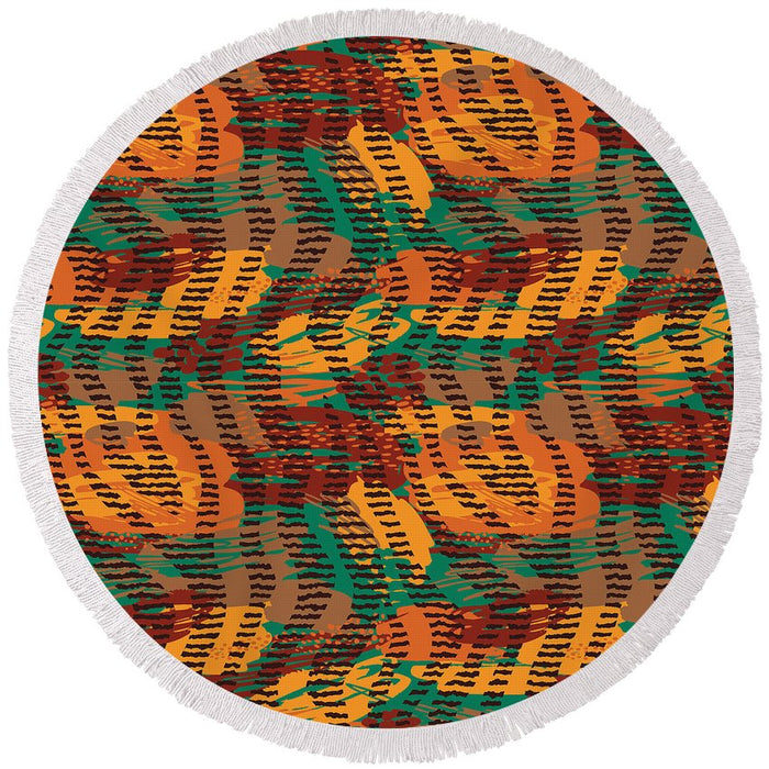 Abstract Animal Stripes - Round Beach Towel