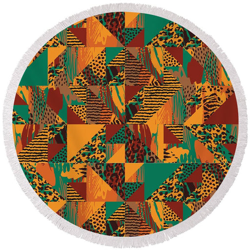 Abstract Safari Print - Round Beach Towel