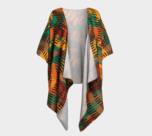 Abstract Animal Stripes Draped Kimono