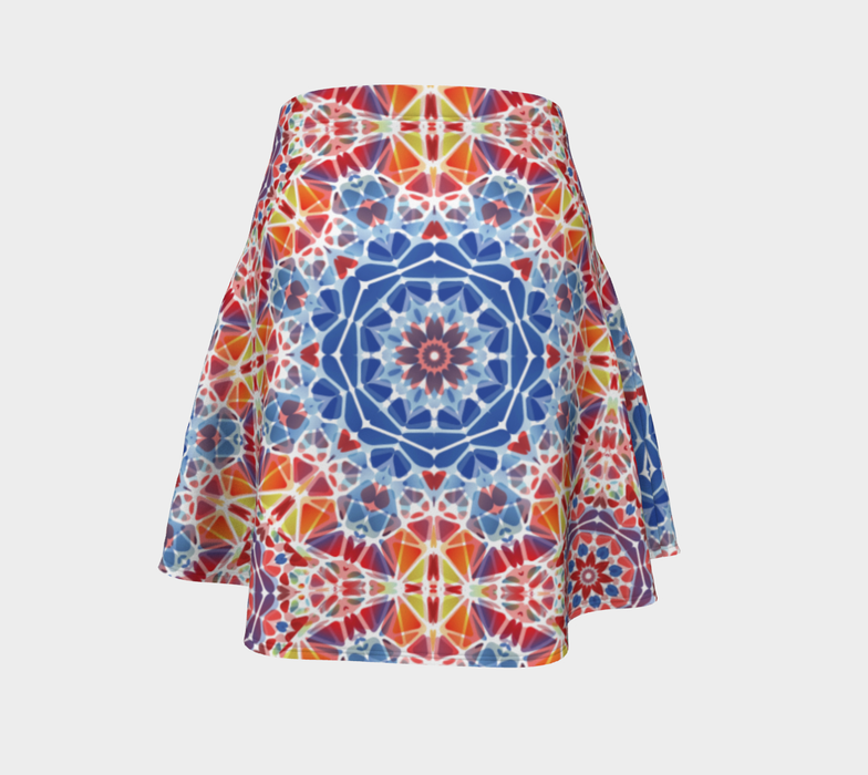 Blue and Orange Kaleidoscope Flare Skirt