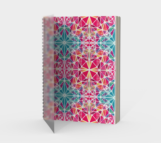 Pink and Blue Kaleidoscope Spiral Notebook - Portrait