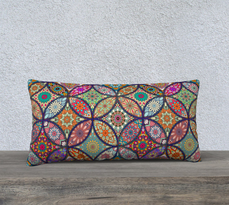 "Vibrant Mandalas 24"" x 12"" Decorative Pillow Case"