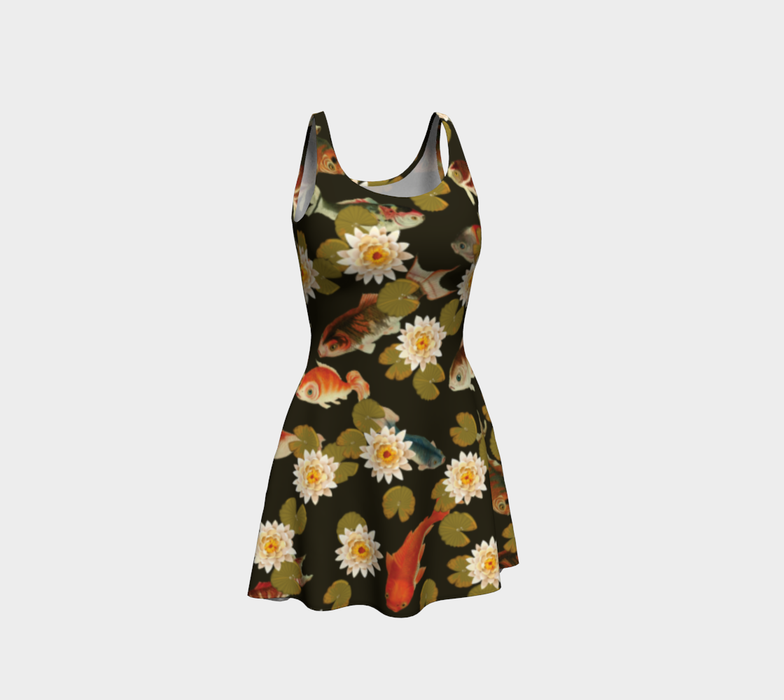 Koi & Lily Pads in Dark Water Flare Dress