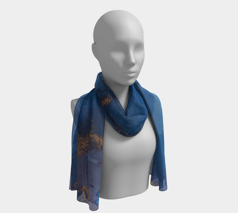 Watercolor Swirls N - Blue & Gold, Long Scarf