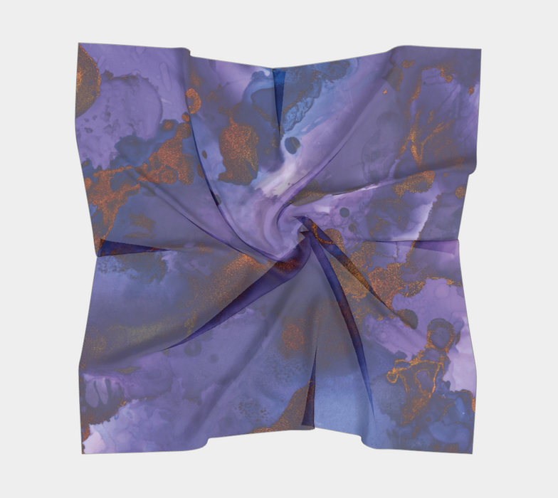 Watercolor Swirls B - Blue & Gold,  Square Scarf