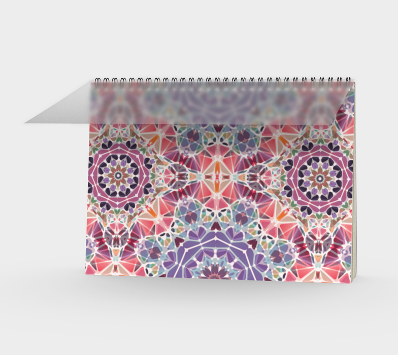 Purple and Pink Kaleidoscope Spiral Notebook - Landscape