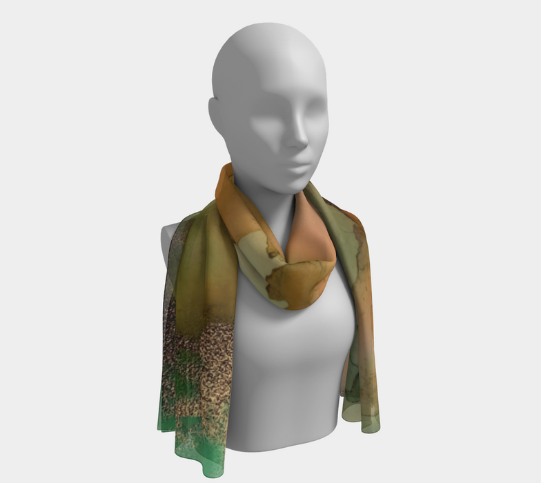 Watercolor Swirls H - Greens & Earthtones, Long Scarf