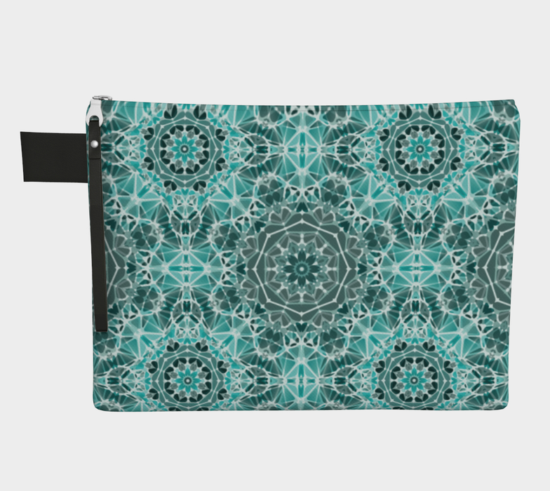 Turquoise & Gray Kaleidoscope Zipper Carry-All