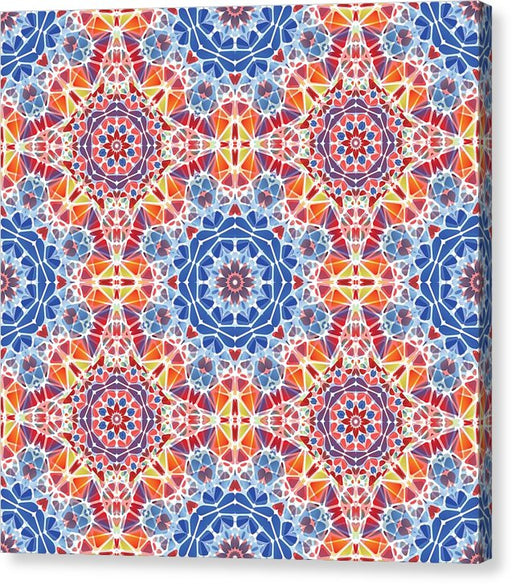 Blue And Orange Kaleidoscope - Canvas Print