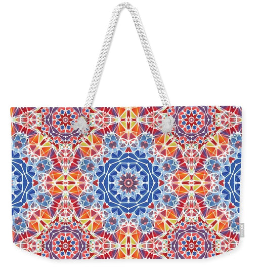 Blue And Orange Kaleidoscope - Weekender Tote Bag