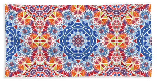 Blue And Orange Kaleidoscope - Beach Towel
