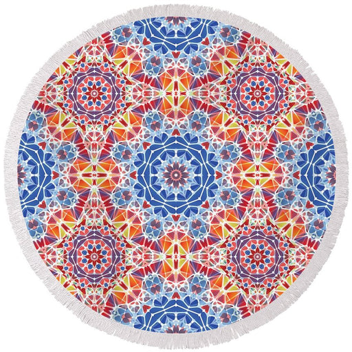 Blue And Orange Kaleidoscope - Round Beach Towel