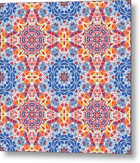 Blue And Orange Kaleidoscope - Metal Print