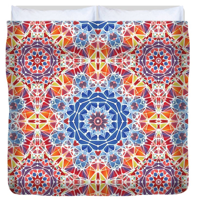 Blue And Orange Kaleidoscope - Duvet Cover