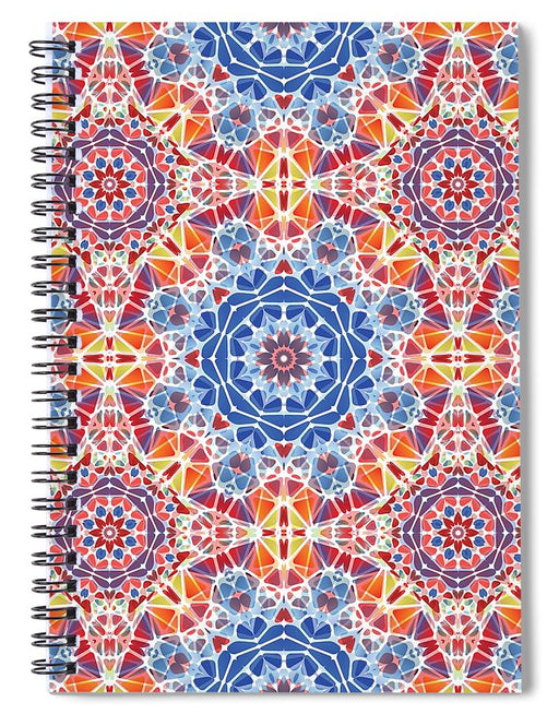 Blue And Orange Kaleidoscope - Spiral Notebook