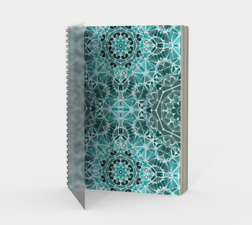 Turquoise & Gray Kaleidoscope Spiral Notebook - Portrait