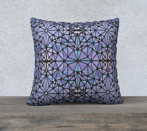 "Purple and Blue Kaleidoscope 22"" x 22"" Decorative Pillow Case"