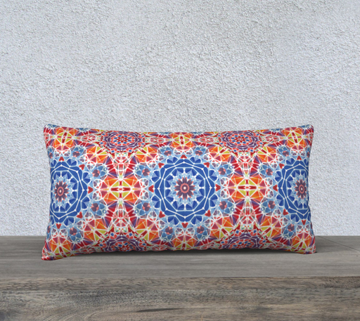 "Blue and Orange Kaleidoscope 24"" x 12"" Decorative Pillow Case"
