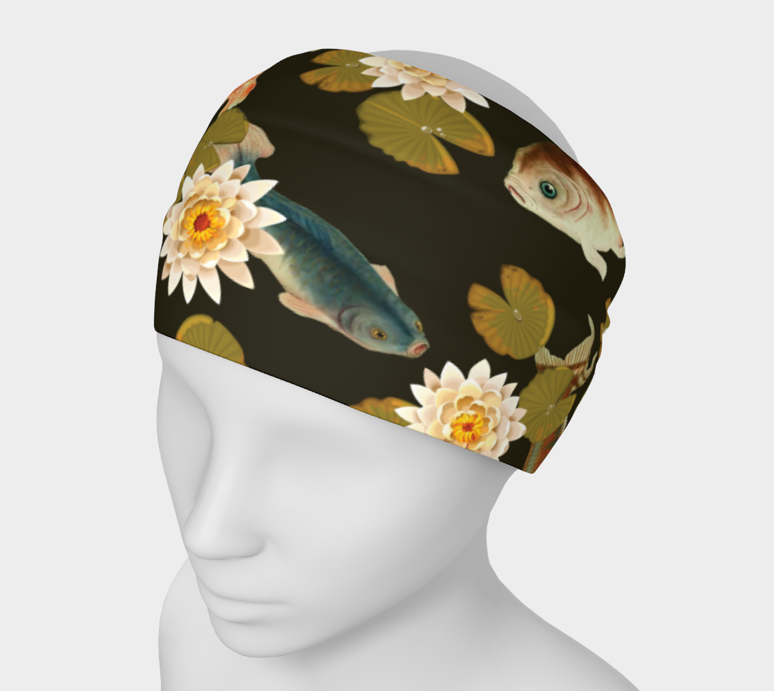 Koi & Lily Pads in Dark Water - Headband