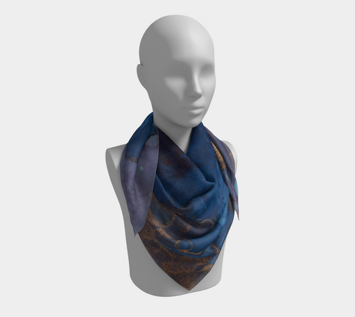 Watercolor Swirls N - Blue & Gold, Square Scarf