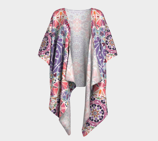 Purple and Pink Kaleidoscope Draped Kimono