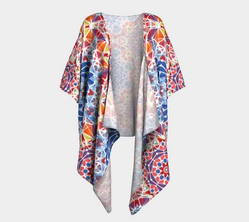 Blue and Orange Kaleidoscope Draped Kimono