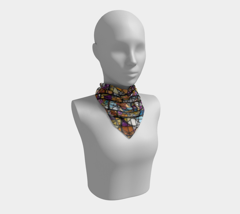 Quadrangles & Triangles Mosaic Pattern Square Scarf