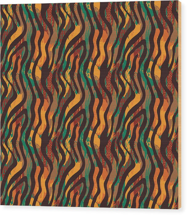 Colorful Animal Stripe Print - Wood Print