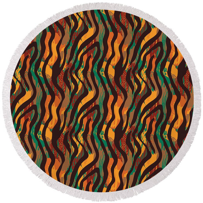 Colorful Animal Stripe Print - Round Beach Towel