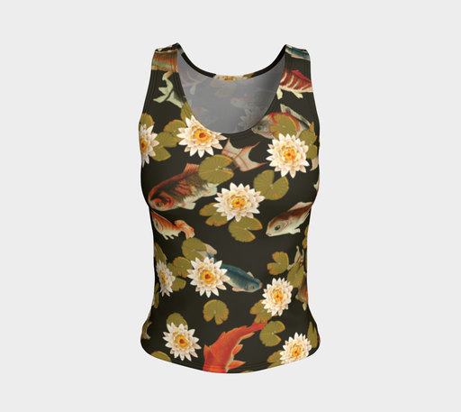 Koi & Lily Pads in Dark Water - Fitted Tank Top